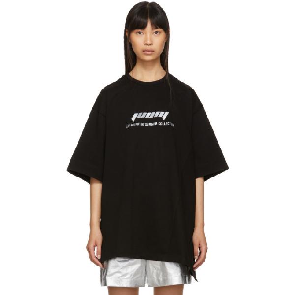 Juun.j Black Oversized Logo T-shirt