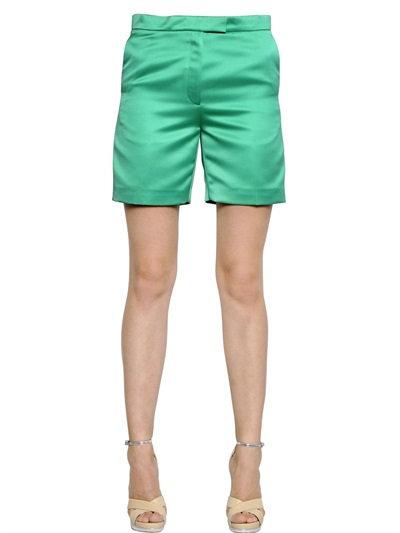 Rochas Light Duchesse Shorts In Green