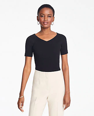 Ann Taylor Petite Ribbed V-Neck Short Sleeve Sweater In Black