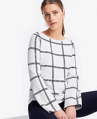 Ann Taylor Petite Windowpane Sweater In Winter White