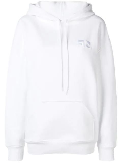 CourrÈGes Oversized Logo Hoodie In White