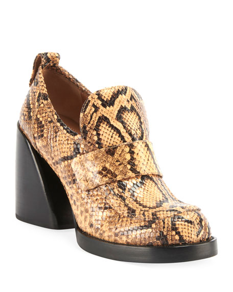 ChloÉ Adelie Python-Embossed Loafer Booties In Yellow