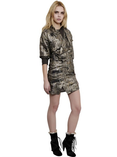 Isabel Marant Printed Silk Georgette Lurex Dress In Ochre