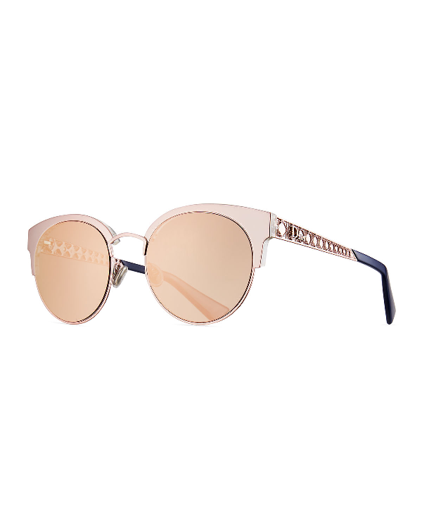 71b6258ef6a Dior Amamini Semi-Rimless Mirrored Sunglasses In Gold