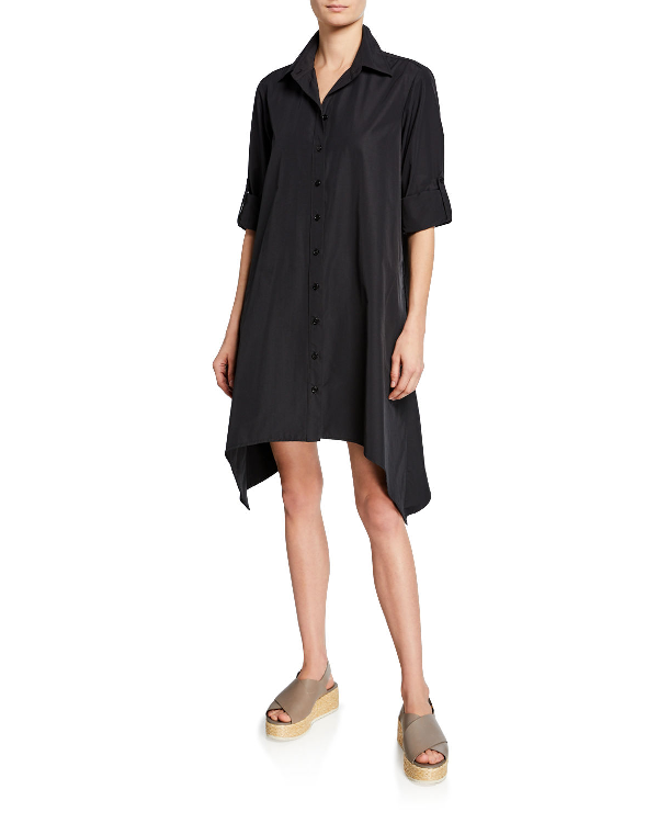 35ab9433a103eb Finley Bruno Button-Front Long-Sleeve Uneven-Hem Shirtdress In Black