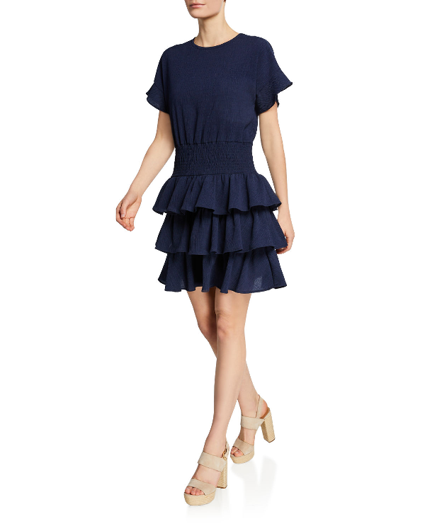 43a0a4c25453 Michael Michael Kors Pucker Tiered Smocked T-Shirt Dress In Navy ...