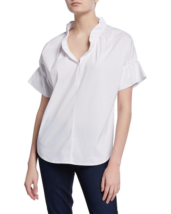 25c344140ea3a8 Finley Crosby Flounce Neck & Sleeve Silky Poplin Shirt In White ...