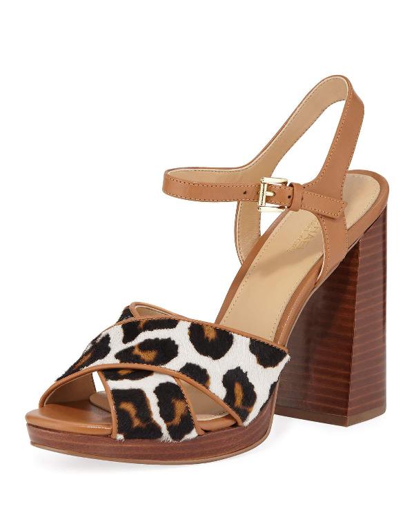 e212d6601c Michael Michael Kors Alexia Leopard-Print Calf Hair Platform Sandals In  Acorn
