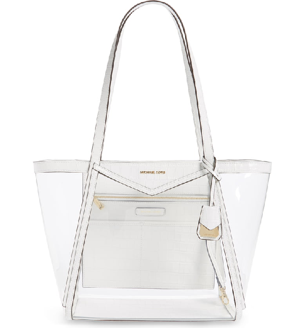 7671b00533 Michael Michael Kors Whitney Large Vinyl/Croco Shoulder Tote Bag In Optic  White