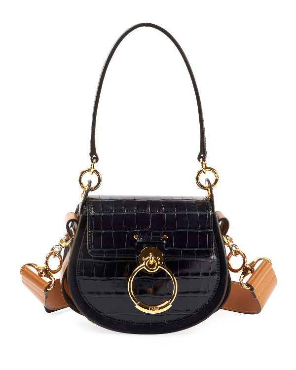 03b3c3bbee9206 ChloÉ Tess Small Embossed Leather Shoulder Bag In Medium Blue | ModeSens