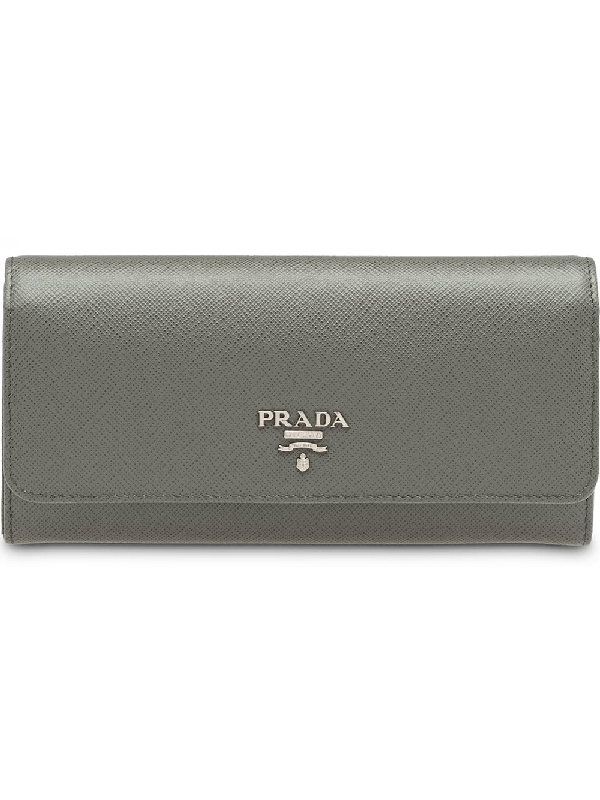 Prada Logo Wallet In Grey