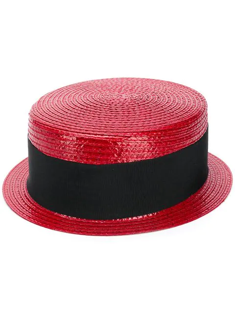 Saint Laurent Small Boater Hat In Varnished Straw In 6400 Red