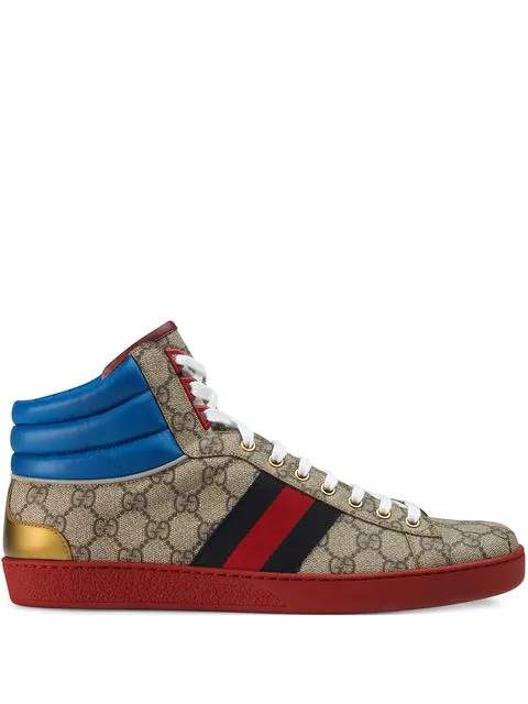 Gucci New Ace Gg Supreme Leather And Canvas Trainers In 9794 Gg Beige