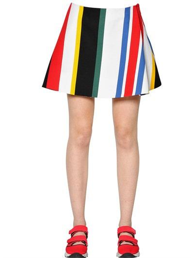 Marni Stripe Printed Cotton Cady Skirt In Multicolor