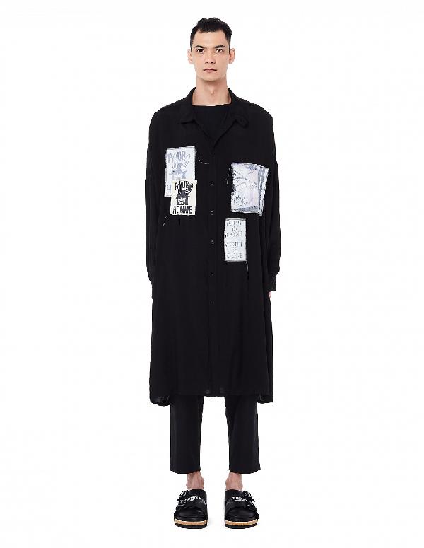 Yohji Yamamoto Black Long Patched Shirt