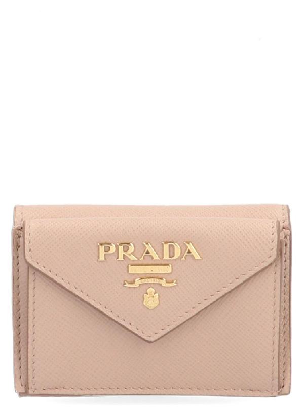 79669d89ec4517 Prada Logo Mini Wallet In Pink | ModeSens