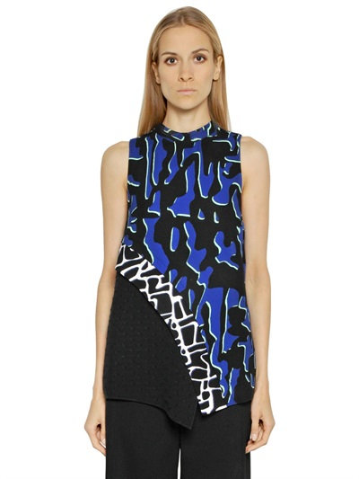 Proenza Schouler Printed Viscose Georgette Top In Blue/Black