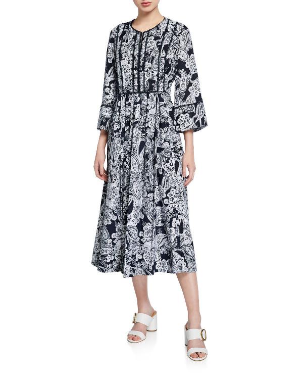 Dkny Donna Karan New York Paisley-Print Midi Dress In Blue Pattern