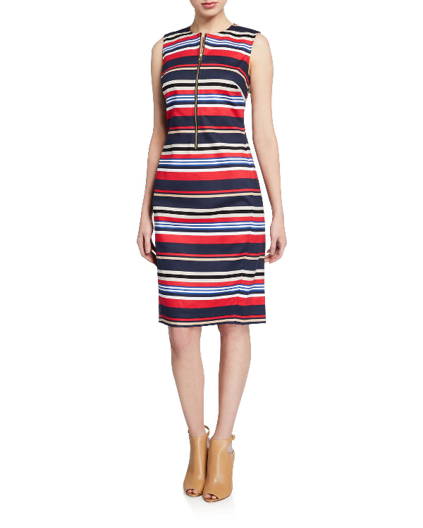 Dkny Donna Karan New York Striped Zip-Front Sheath Dress In Red Pattern