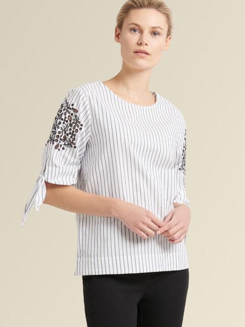 Dkny Donna Karan New York Striped Tie-Sleeve Top In White/Indigo