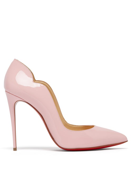 Christian Louboutin Hot Chick 100 Patent Red Sole Pumps In Pink