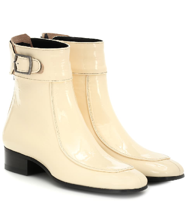 Saint Laurent Miles Square-toe Patent-leather Ankle Boots In Neutrals