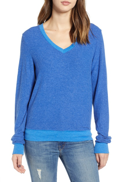 Wildfox Baggy Beach V-neck Top In Slate Blue