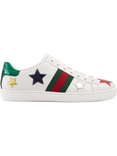 Gucci New Ace Metallic-Stars Leather Trainers In 9076 Bianco