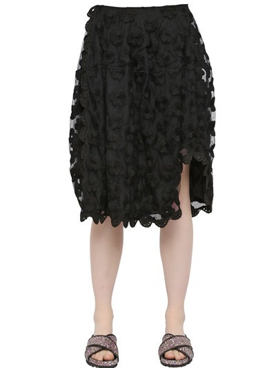Simone Rocha Floral Embroidered Tulle Skirt In Black