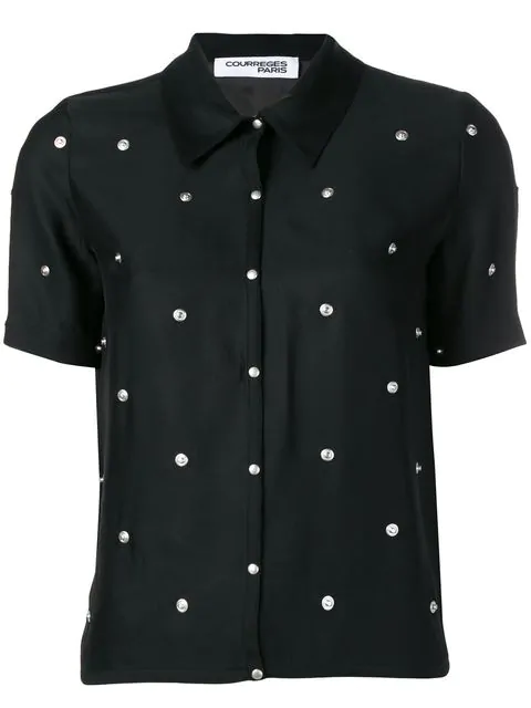 CourrÈGes Studded Button Shirt In Black