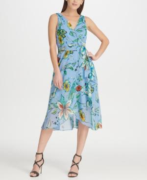 Dkny Floral Chiffon V-Neck Midi Wrap Dress With Belt In Blue Multi