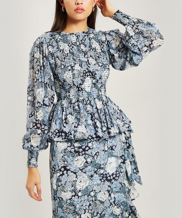 c54f9cc2 Ganni Elm Floral Georgette Long-Sleeve Blouse In White | ModeSens