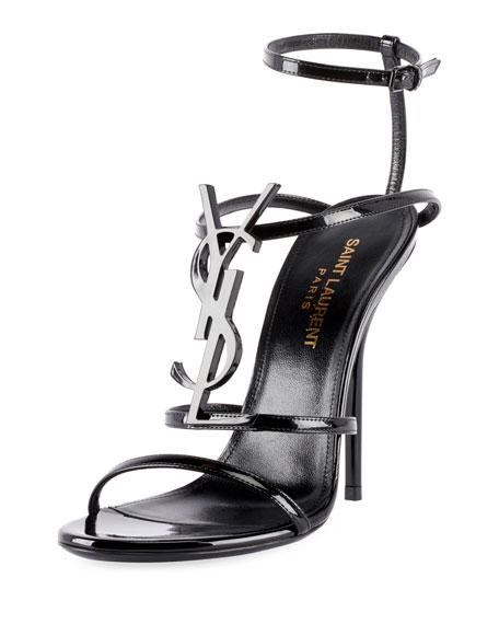 Saint Laurent Opyum Cassandra Ysl Monogram Patent Sandals In Black