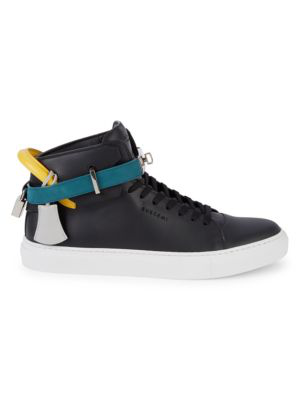 Buscemi Trio Leather High-top Sneakers In Black