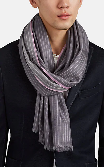 Colombo Pinstriped Cashmere-Silk Flannel Scarf - Violet
