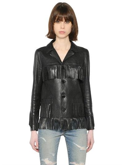 Saint Laurent Classic Curtis Fringe Jacket In Black Leather