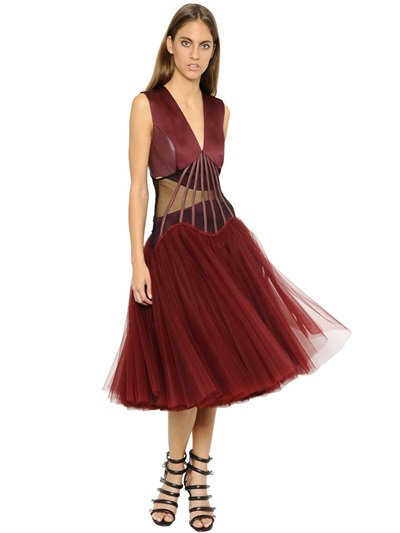Christopher Kane Corset Boning & Tulle Dress In Bordeaux