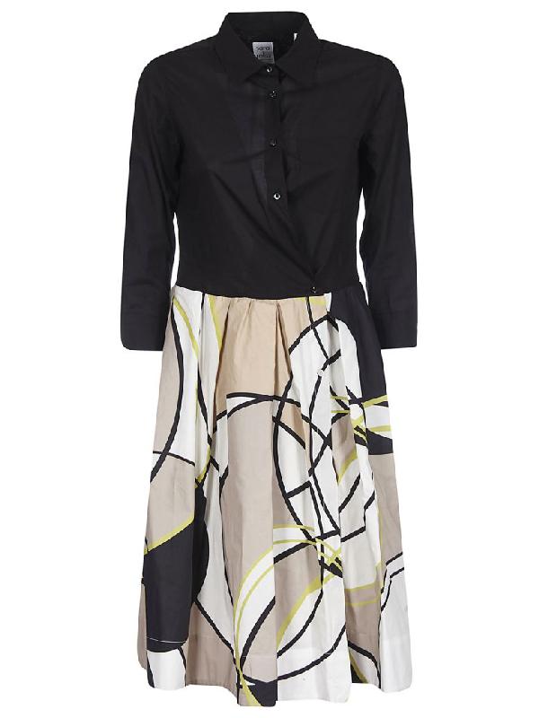 Sara Roka Buttoned Closure Dress In Black/beige