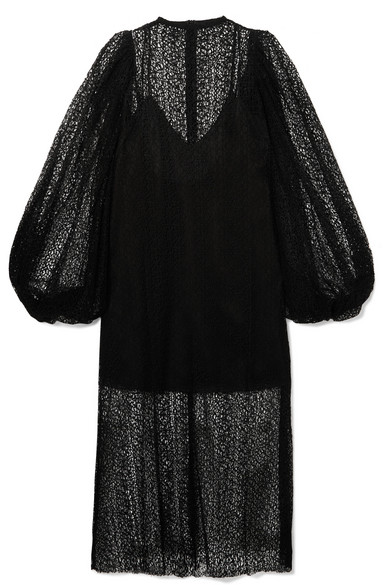 Beaufille Cohen Corded Lace Midi Dress In Black