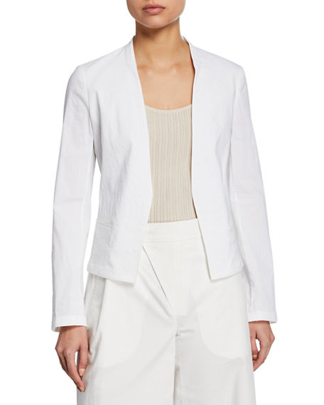 Theory Eco Crunch Wash Open-Front Clean Blazer In White