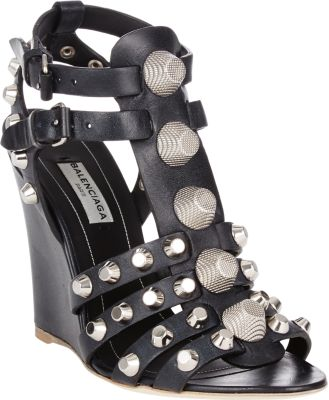 Balenciaga Studded Caged Wedge Sandal, Noir/Silver In Gris Fossile