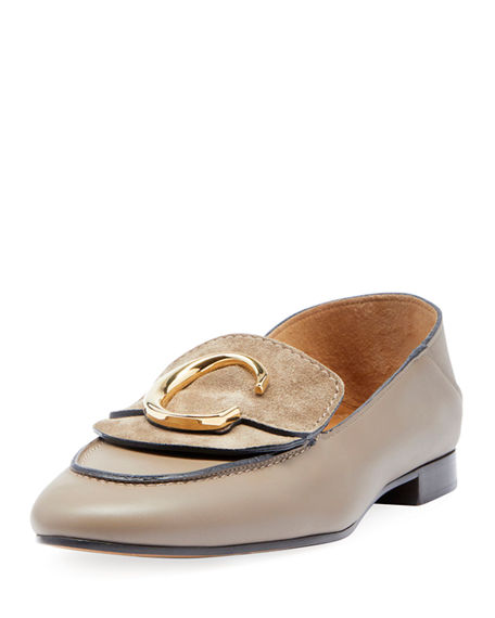 ChloÉ C Leather Flat Fold-Down Loafers In Gray
