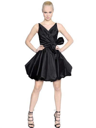 Dsquared2 Silk Taffeta Dress With Bow In Black