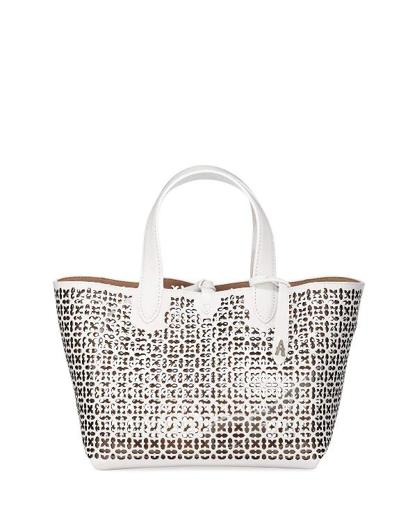 a4216b930 AlaÏA Frida Mini Laser-Cut Tote Bag In White/Black | ModeSens
