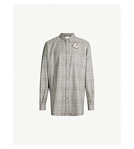 Gucci Checked Regular-Fit Cotton-Crepe Shirt In Black White Red