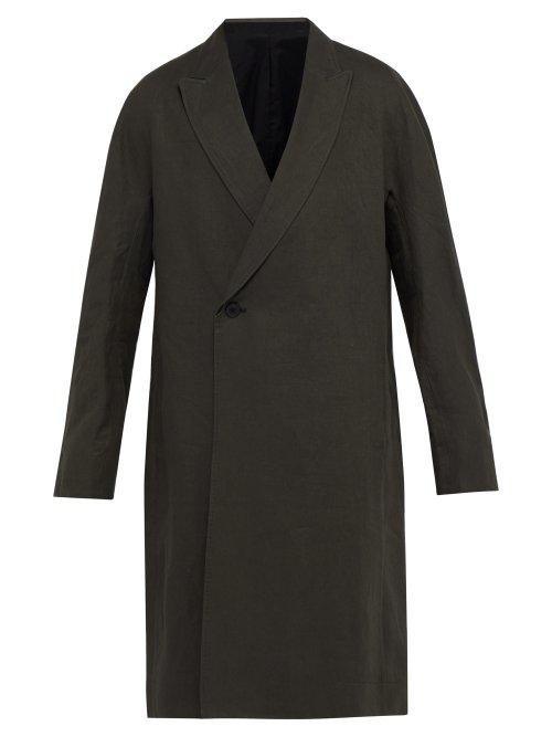 Haider Ackermann Kimono-Sleeve Linen Coat In Green