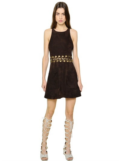 ChloÉ Suede Dress With Lacing Detail In Dark Brown