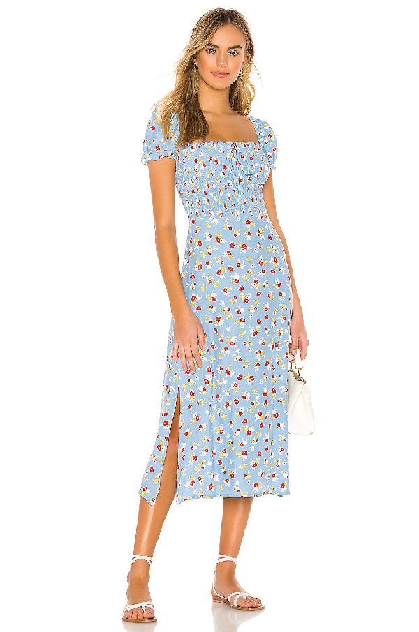 e2449cb2fa Faithfull The Brand Castilo Shirred Floral-Print Crepe Midi Dress In Blue  Jasmine Floral