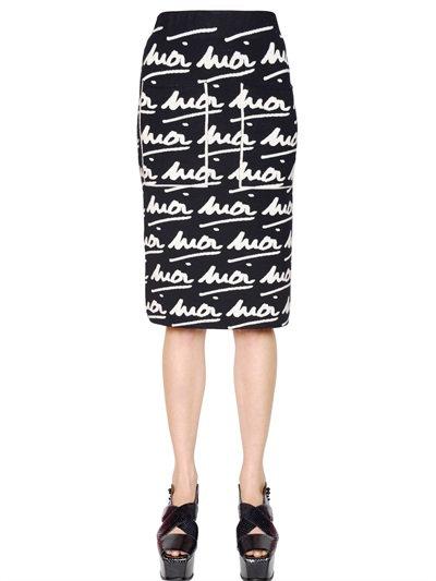 """Sonia Rykiel """"Moi Moi"""" Wool Jacquard Skirt In Navy/White"""