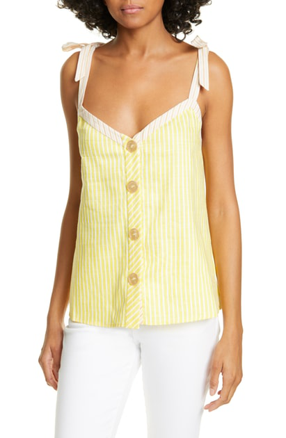Ted Baker Colour By Numbers Asinara Stripe Cotton & Linen Blend Camisole In Yellow